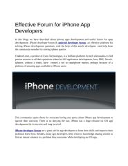 Effective Forums for iPhone App Developers.doc