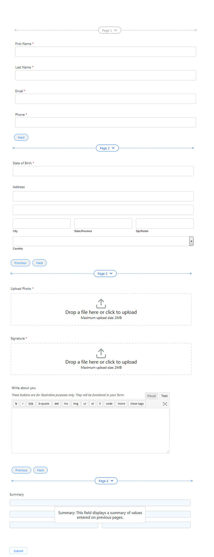 preview before submitting wordpress form