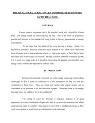 SOLAR AGRICULTURAL WATER PUMPING SYSTEM WITH AUTO TRACKING.doc